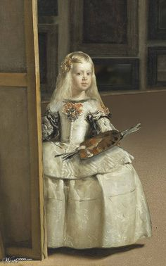 "This is a painting of Diego Velazquez improved by the Young Infanta. When left alone, young Infanta enjoyed ""improving"" Velazquez's work Caravaggio, Spanish Painters, Spanish Artists, Classic Paintings, Beautiful Paintings, Art Espagnole, Infanta Margarita, Diego Velazquez, Baroque Art"