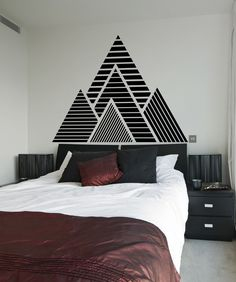 This geometric mountain wall decal features a simple peel and stick application. Order a mountain vinyl wall decal for your home or office today.