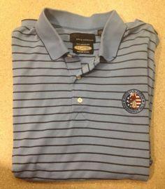 Greg Norman LG Play Dry Golf Shirt Pinehurst No 2 2005 U s Open Polo Striped | eBay