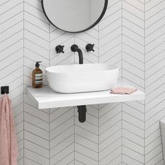 Bathroom trends come and go, but the essential elements of the bathroom are forever: sink (with or without a vanity), toilet, shower and/or bathtub. Floating Bathroom Vanities, Floating Sink, White Bathroom Tiles, Bathroom Basin, Small Bathroom, Floating Shelves, Cloakroom Sink, Floating Toilet, Chevron Bathroom