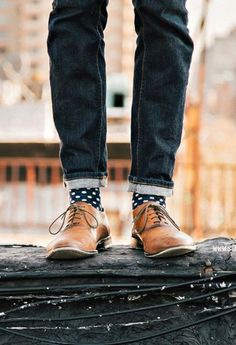 fun polka dot socks and lace ups