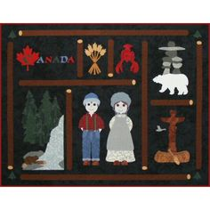 Postcards from...Canada Quilt Pattern http://www.victorianaquiltdesigns.com/VictorianaQuilters/PatternPage/PostcardsfromCanada/PostcardsfromCanada.htm #quilting #Canada #lobster #polarbear #forest #wheat