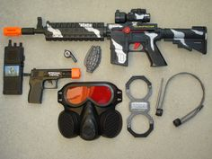 Our Combat Mission Playsets are all you need for combat play and include a rifle, gas mask, and other cool accessories!