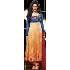 KVD10S21038 - Apricot & Blue Faux Georgette Anarkali Suit with Dupatta