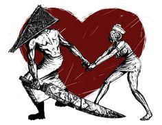 Pyramid Head and Nurse Affair Horror Art, Horror Movies, Header, Pyramid Head, Bad Romance, Silent Hill, Love And Lust, Halloween Horror, Poster Wall