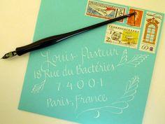 Wedding Calligraphy - Elegant Tiffany Blue Custom Envelope Addressing.