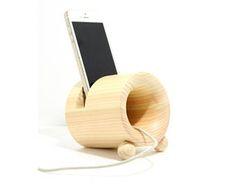 Wood speaker holder credle rest, Hardwood speaker, Solid wood speaker, Cypress tree speaker, Smartphone speaker, Cell phone speaker