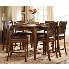 Counter height set with X-back chairs and luxurious faux leather