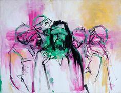 Uno de los pasajes de la vida de Cristo, que más impresionó al artista desde su niñez, fue el escarnio al que fue sometido. El dibujo obtiene mayor importancia por medio de un trazado mínimo. El maestro ha utilizado manchas verdes, amarillas y magentas. Sus verdugos lo observan con caras burlonas y grotescas, cómo máscaras primitivas o emulando la expresión mínima del rostro humano. En el centro Cristo, con los ojos vendados, frente al observador, haciéndole partícipe de lo que está…