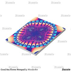 Coral Sea Flower Notepad #blue #purple #pink #trendy #pattern #fractals #fractal #abstract #colorful #bright #vibrant #psychedelic #rainbow