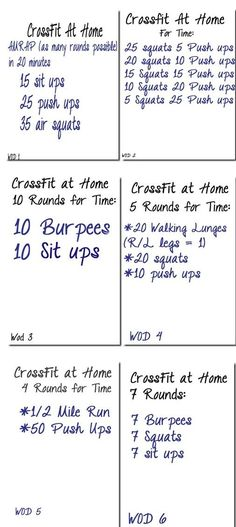 6 Crossfit workouts to try at the hotel when we are on vacation after we come back from a full day of hiking :) we shall see!