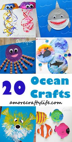 kid crafts - crafts for kids- kid crafts - octapus - shark - jellyfish - f. - - ocean kid crafts – crafts for kids- kid crafts – octapus – shark – jellyfish – fish – Ocean Kids Crafts, Summer Crafts For Kids, Projects For Kids, Art For Kids, Ocean Themed Crafts, Ocean Animal Crafts, Summer Crafts For Preschoolers, Toddler Arts And Crafts, Ocean Projects