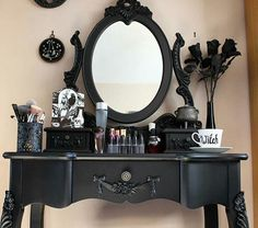 Stunning black vanity (dressing) table. #goth #furniture #home #decor #interiors #witchyvibes