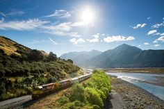 The TranzAlpine Crossing between Christchurch and Greymouth in New Zealand, the legendary train trip takes about 4.5 hours from start to finish, during which you'll get acquainted with the landscape that New Zealand is renowned for (by passing places like the Canterbury Plains, the Waimakariri River, and the Southern Alps).