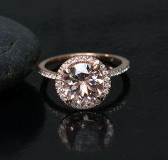 Stunning Morganite Engagement Ring Wedding Ring by Twoperidotbirds