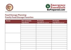 Printable Food Storage Menu Planner. Includes menu calendars, food storage shopping list, food storage inventory, and shopping tips.