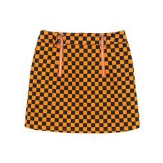CHECKERD FLAG RING ZIP SKIRT ($135) ❤ liked on Polyvore featuring skirts, bottoms, puff skirt, puffy skirts, zip skirt, orange skirt and zipper skirt