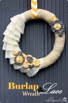 We love burlap!  This lace and burlap wreath would make a fun fall decoration from @Myra Cherchio!