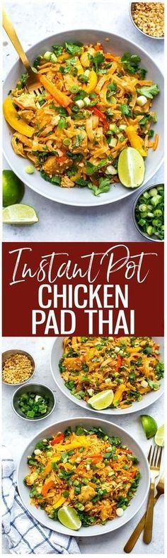 This Instant Pot Chicken Pad Thai is a super quick and easy one pot pad thai rec. - This Instant Pot Chicken Pad Thai is a super quick and easy one pot pad thai recipe that is perfect - Instant Pot Pressure Cooker, Pressure Cooker Recipes, Pressure Cooking, Pressure Cooker Chicken, Pollo Pad Thai, One Pot Pad Thai Recipe, Pad Thai Huhn, Instant Pot Dinner Recipes, Instant Pot Chinese Recipes