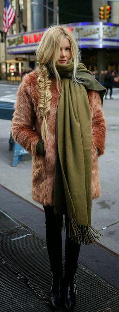 Faux Furry Jacket + Oversized Olive Scarf