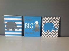 3 Piece 11X14 Acrylic Hand Painted Canvas Set Dream Big Little One with Elephants