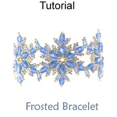 Beaded Frosted Snowflake Bracelet Downloadable Beading Pattern Tutorial by Cara Landry with Simple Bead Patterns | Simple Bead Patterns