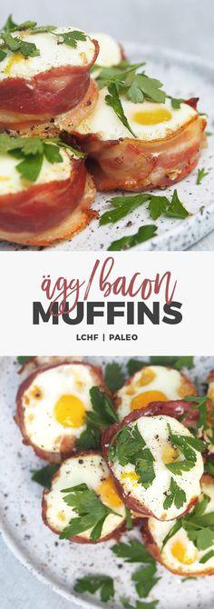 Recept: Ägg & bacon-muffins. Smidiga frukostmuffins. LCHF & Paleo Lchf, Lactose Free, Gluten Free, Bacon Muffins, Paleo, Camembert Cheese, Keto Recipes, Brunch, Eggs