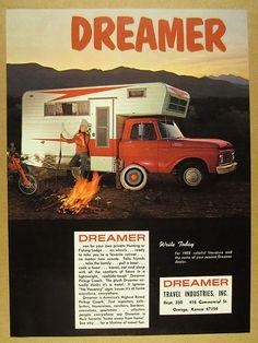 46e3473a69f1 1964 Dreamer Pickup Camper Ford F250 F-250 red truck photo vintage print Ad