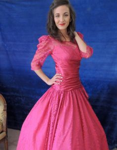 "Rasberry lace pink prom dress with 200"" (!!) full skirt"