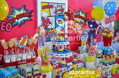 AZUCAR FLOR party studio: SUPER HEROES estilo Comics