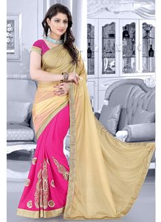 Beige Pink Knitted Fabric Foil Print Faux Georgette Half And Half Saree