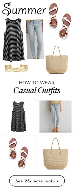 """""""Casual"""" by eliserich on Polyvore featuring American Eagle Outfitters, Stella & Dot, Tory Burch, Target and strawbags"""