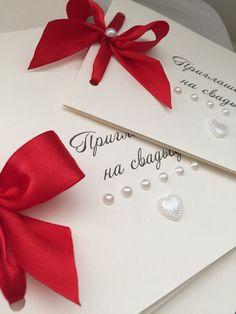 Купить Приглашения на свадьбу - картон, плотный, атласные ленты, красный цвет, приглашения на свадьбу, пригласительные