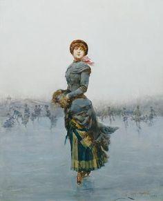 §§§ : Lady Skating on Ice : Ludovico Marchetti : 1882