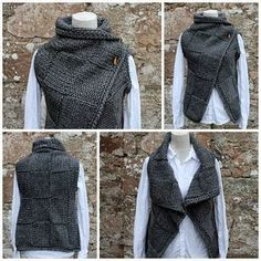 Big Square Wrap is full of sumptuous texture and cosy comfort.Ravelry: Grey wrap, sleeveless jacket by Laura Dovile Cardigan Pattern, Jacket Pattern, Jumpsuit Pattern, Knitting Patterns, Crochet Patterns, Crochet Edgings, Vogue Patterns, Sewing Patterns, Super Bulky Yarn
