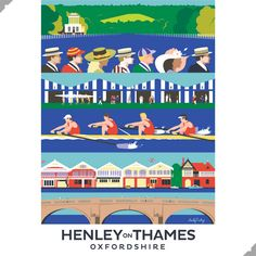 Henley On Thames, Oxfordshire Print – Andy Tuohy Design Cityscape Drawing, Tunnel Book, Rowing Crew, Minimalist Graphic Design, Henley On Thames, Women's Henley, Great Western, Best Photographers, Travel Posters