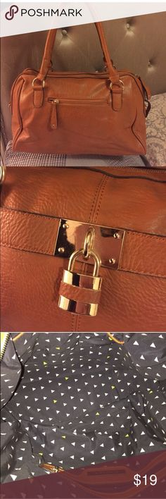 Faux brown leather bag Francesca brand, brown, clean, with lock charm. •Recently sold but customer cancelled order because I took to long (busy with my new job) ): Francesca's Collections Bags Shoulder Bags