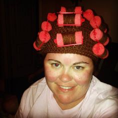 Crochet hair roller hat by SEWcialButterflies on Etsy