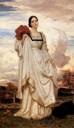 """Pre-Raphaelite Painting:  """"The Countess Brownlown,"""" Lord Frederic Leighton (1830 - 1896)."""