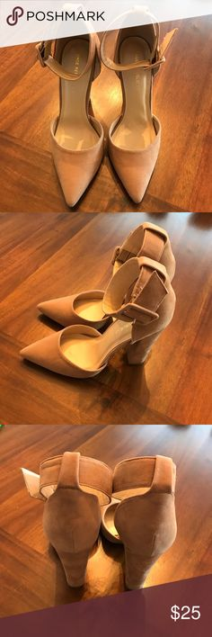Nude suede heels - sz 7.5! Like new! Nude suede heels - sz 7.5! Like new! Only worn to try on. Super cute! Shoe Republic LA Shoes Heels