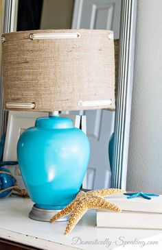 Burlap Lampshade with Grommets and Ribbon - Domestically Speaking