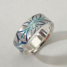 Shippo enameled silver ring