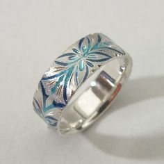 Shippo enameled silver ring