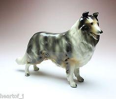 Blue Merle Rough Collie Dog Gloss Finish Ceramic Porcelain Figurine Japan.