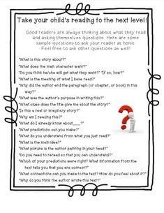 Parents Guide to Reading Questions.  The perfect hand out for families at parent conferences, open house, etc. Gets parent involved, and help your students become better readers.