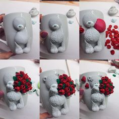 How to make Teddy Bear with rose bouquet. Polymer clay tutorial, how to decorate mug with clay, cute figurine, handmade decor