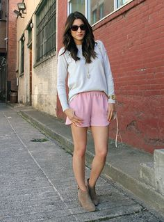 Annessa Smith What I'm Wearing: J. Crew shorts To Get My Look: The one way to make casual shorts even better? Trying on a pair in pretty pink. Click through to shop.