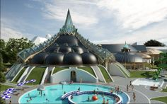 water park a la Makovecz Heart Of Europe, Amazing Buildings, Organic Architecture, Bath Design, Budapest, Planer, Places To Go, Spa, Mansions