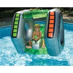 Swimline Starfighter Super Squirter Inflatable Pool Toy - Overstock™ Shopping - The Best Prices on Swimline Water Toys Pool Games, Backyard Games, Inflatable Pool Toys, Inflatable Island, Inflatable Float, Cool Pool Floats, Swimming Pool Toys, Backyard Trampoline, Backyard Pools