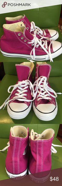 NWOB Converse All Star ⭐️ Sneakers 12 NWOB Converse All Star ⭐️High Top Sneakers, Men's size 12, lace up the front, raspberry colored, pictures are part of the description. Converse Shoes Sneakers